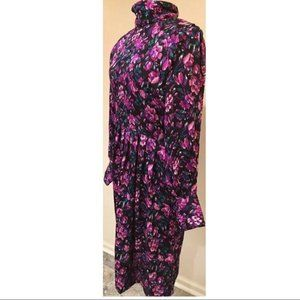 Vtg silk Studio Floral Dress 10 100% silk 80s 90s